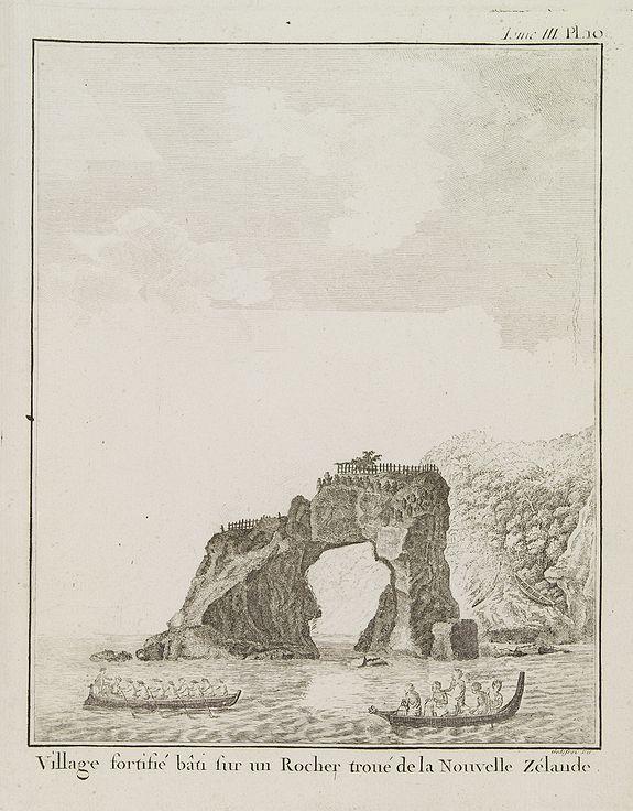 COOK, Captain James. -  Village fortifié bâti sur un Rocher troué de la Nouvelle Zélande.  [Tome III Pl. 10.]