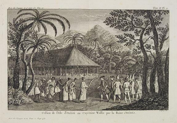 COOK, Captain James. -  Cession de l'Isle d'Ohahiti au Capitaine Wallis par la Reine Obéréa.  [Tome II Pl. 2.]
