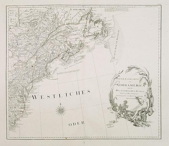 SCHRAEMBL, F.A. / POWNALL, Thomas. -  Generalkarte von Nord America samt den Westindischen Inseln . . .