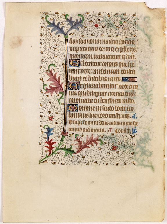 BOOK OF HOURS -  A manuscript leaf from a Book of Hours.