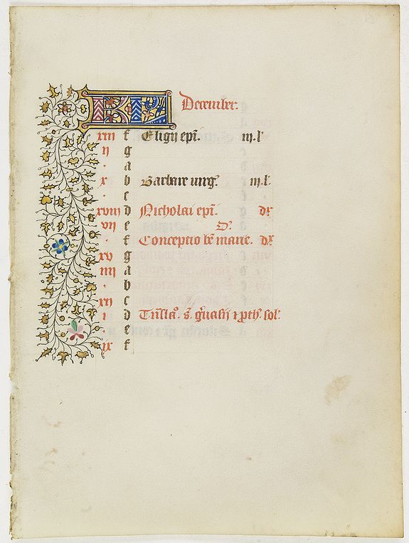 BOOK OF HOURS -  Calander leaf for December from manuscript leaf from a Book of Hours.