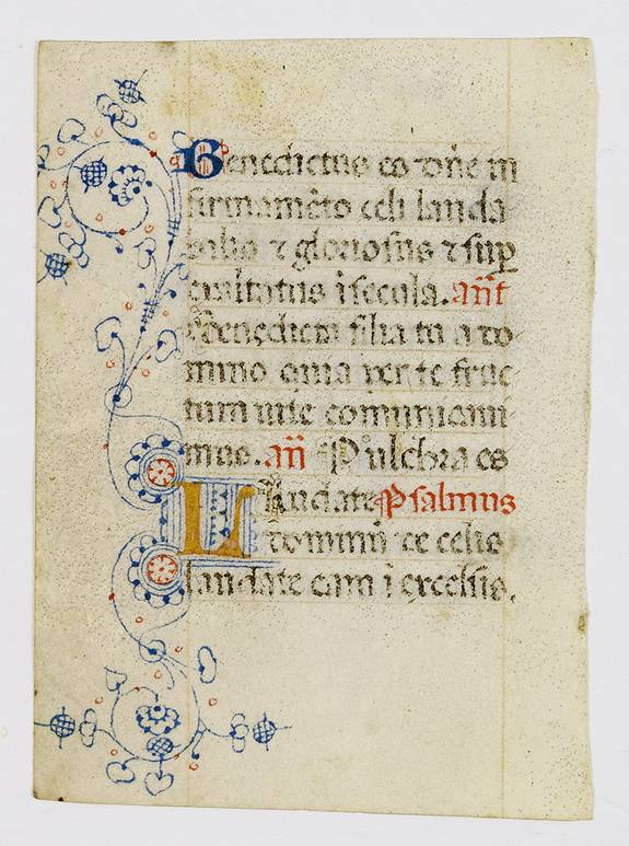 BOOK OF HOURS -  A manuscript leaf from an Italian Book of Hours.