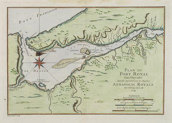 BELLIN, J.N. -  Plan du Port Royal dans l'Acadie, Appelé Aujourd' par les Anglois Annapolis Royal.
