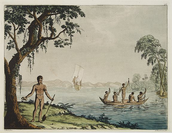 FERRARIO, G. -  [ The Admiralty Islands and New Britain inhabitants fishing. Papua New Guinea ].