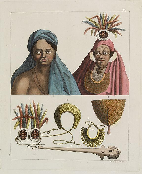 FERRARIO, G. -  [ Marquesas Islands headdresses and head ornaments ].