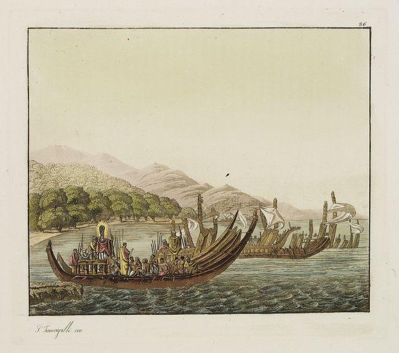 FERRARIO, G. -  [Tahitian warrior dugouts  ].