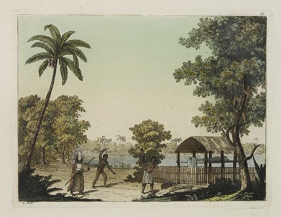 FERRARIO, G. -  [ Mortuary scene. Tahiti Islands  ].