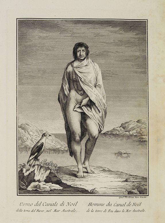 VIERO, Theodorum. -  Uomo del Canale di Noël della terra del Fuoco, nel Mar Australe.  / Homme du Canal de Noël de la terre de Feu dans la Mer Australe.