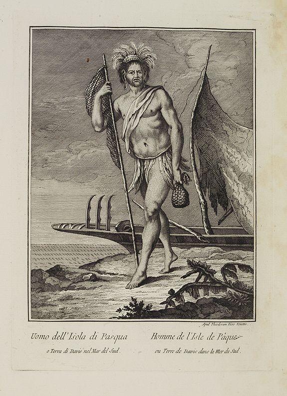 VIERO, Theodorum. -  Uomo dell' Isola di Pasqua o Terra di Davis nel Mar del Sud.  / Homme de l' Isle de Pâquesou Terra de Davis dans la Mer du Sud.