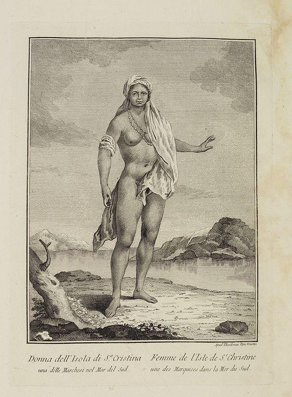 VIERO, Theodorum. -  Donna dell' Isola di S.a Cristina una delle Marchesi nel Mar del Sud.  / Femme  de l' Isle de S.e Christine une des Marquises dans la Mer du Sud.