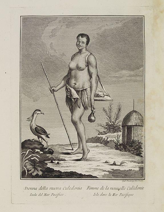 VIERO, Theodorum. -  Donna della nuova Caledonia Isola del Mar Pacifico.  / Femme  de la nouvelle Calédonie Isle dans la Mer Pacifique.