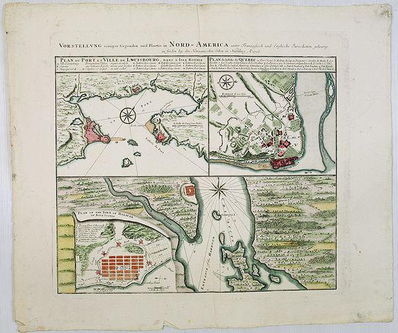 HOMANN HEIRS. -  Vorstellung Einiger Gegenden und Plaetze in Nord-America unter Franzoesisch und Englische Jurisdiction Gehoerig zu Finden bey den Homaennischen Erben in Nurnberg Ao. 1756.