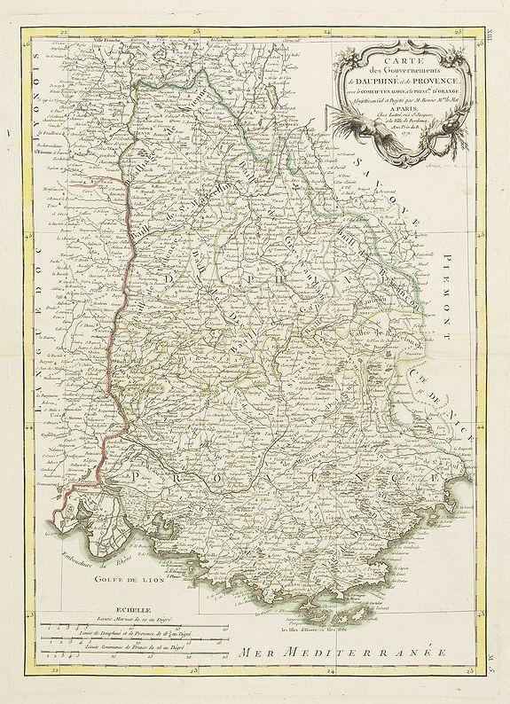 BONNE, R. -  Carte des Gouvernements de Dauphiné et de Provence. . . Planche n° XIII.