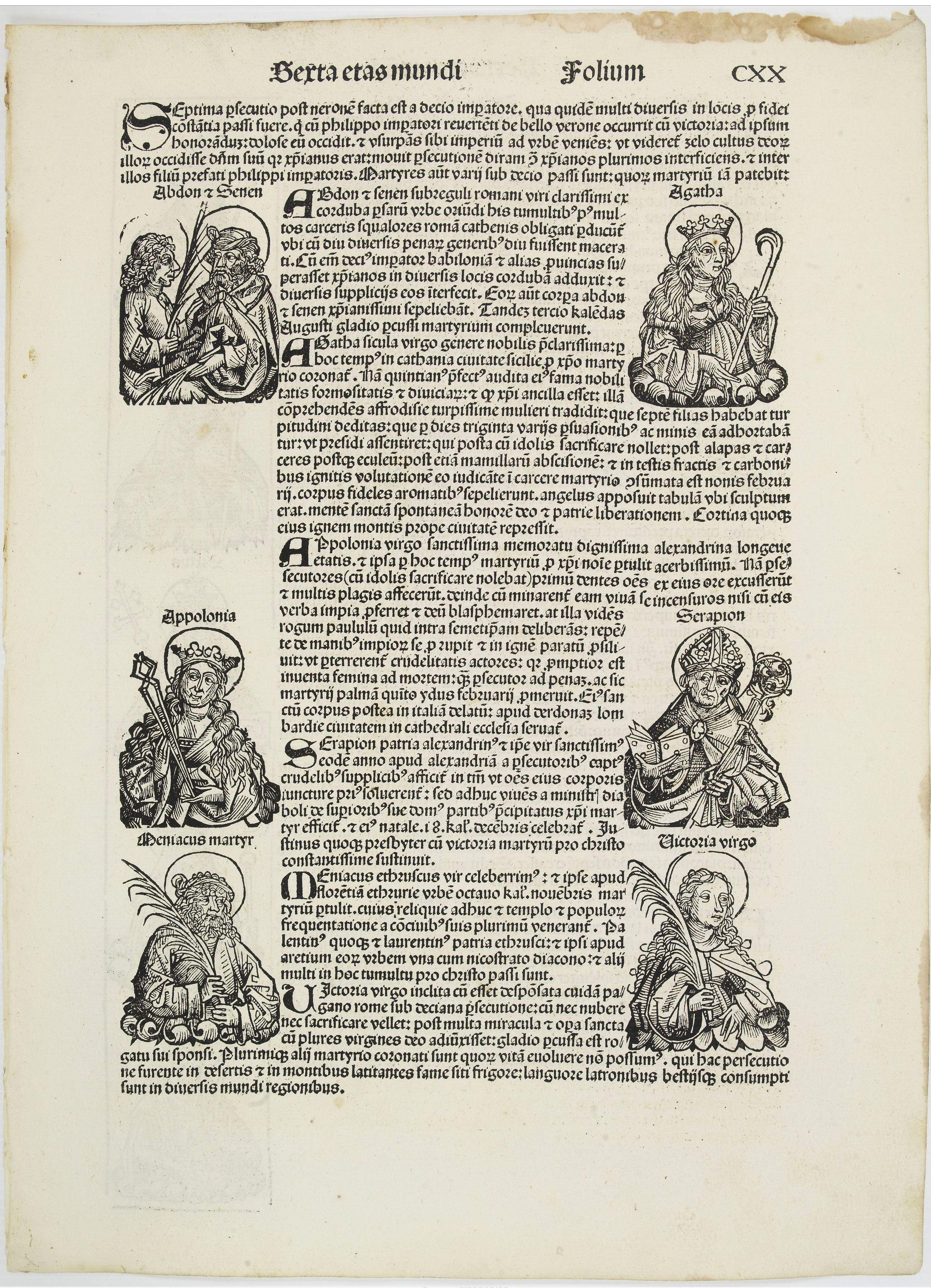 SCHEDEL, H. -  [Text page with Saint Appolonia, the patron saint of dentistry.]  - Sexta Etas Mundi. Folium. CXX .