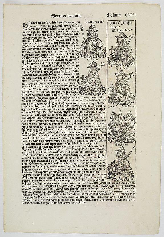 SCHEDEL, H. -  [Text page with Kings, Queens, Saints and Popes. Sexta Etas Mundi. Folium. CXX I].