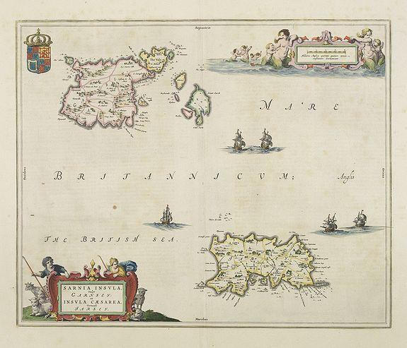 BLAEU, J. -  Sarnia Insula vulgo Garnsey et Insula Caesarea venacule Jarsey