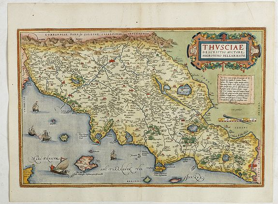ORTELIUS, A. -  Thusciae Descriptio Auctore Hieronimo Bellarmato.