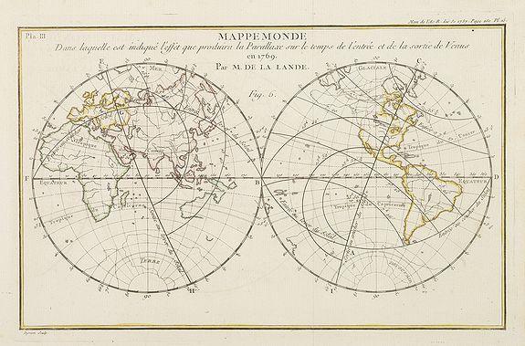 DE LA LALANDE, M. -  Mappemonde dans laquelle est indique l'effet que produira la parallaxe sur le temps de l'entr'ee et de la sortie de Venus en 1769 / par M. de la Lande.