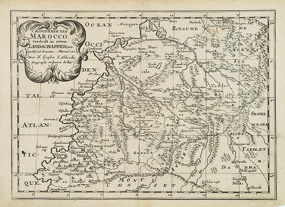SANSON, N. -  'T Koninkryk van Marocco, verdeelt in Zeven Landschappen, enz. . .