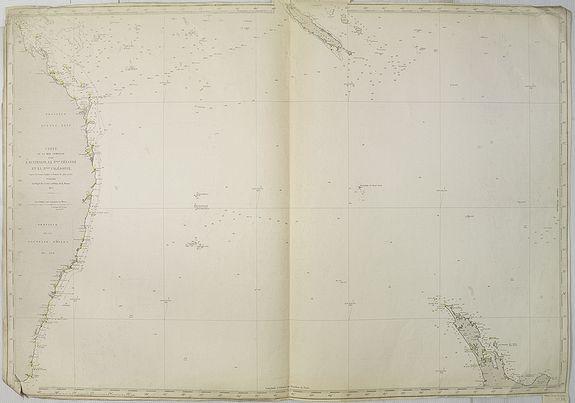 DÉPÔT DES CARTES ET PLANS DE LA MARINE -  Carte de la Mer comprise entre l'Australie, la Nelle. Zélande et la Nelle.