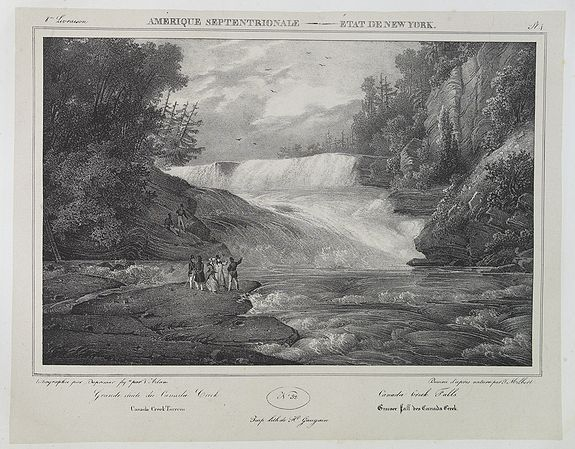MILBERT, J.,  Canada Creek Falls . .  [title in French, English, German & Latin] N°32. Pl. 4., antique map, old maps