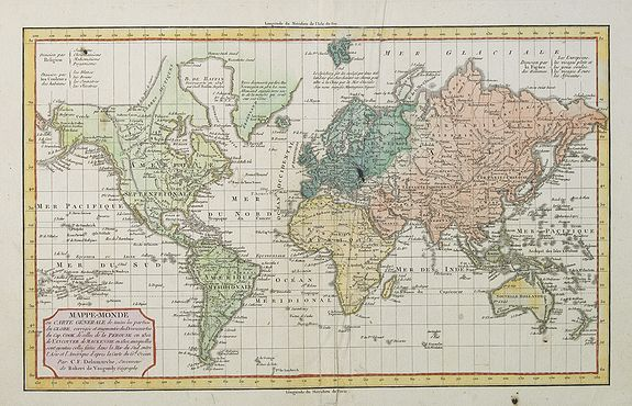 DELAMARCHE, C. F. / ROBERT VAUGONDY, d., Gilles. - MAPPE-MONDE ou CARTE GENERALE de toutes les parties du GLOBE, corrigée et augmentée des Découvertes du Cap. COOK, de celles de la PEROUSE en 1801, de VANCOUVER, de MACKENSIE en 1802 . . .