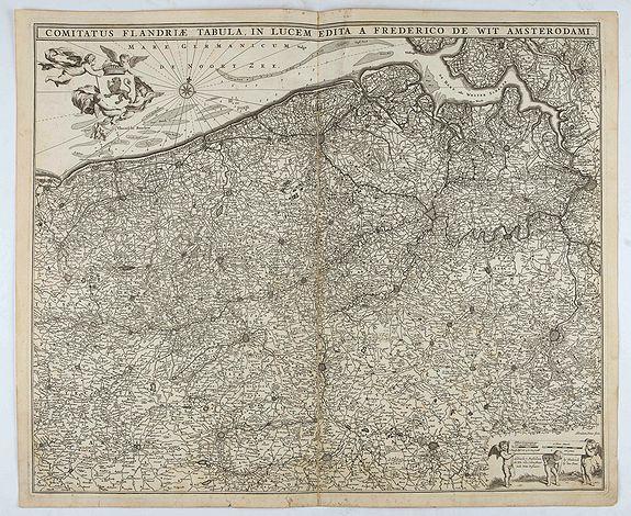 DE WIT, F. -  Comitatus Flandriae Tabula, In Lucem Edita A Frederico De Wit.