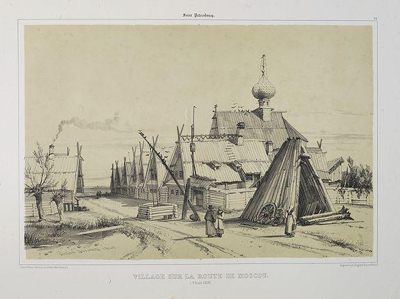 GIBAUT FRERES  / DURAND, A.. -  Village sur la route de Moscou. (9 Août 1839).