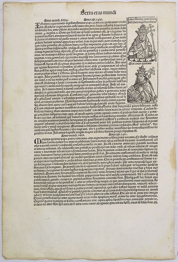SCHEDEL, H. -  [Text page with Roman scholar, and Popes, Sexta etas mundi CCXXX].
