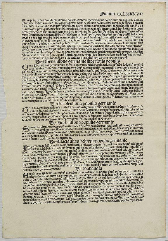 SCHEDEL, H. -  [Text page Folium CCLXXXVII].
