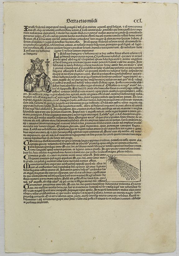SCHEDEL, H. -  [ Text page with Kings and a comet. ] Sexta Etas Mundi CCL.