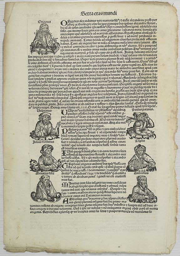 SCHEDEL, H. -  [Text page with Kings and Roman personalities.] Sexta Etas Mudi CXVII.