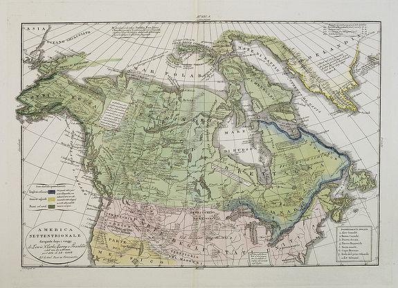 TASSO, G. -  America Settentrionale disegnata dopi i viaggi di Lewis, Clarke, Parry e Franklin. . .