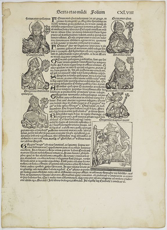 SCHEDEL, H. -  [Text page with Kings and Popes, including Pope Gregorius ] folio CXLVIII