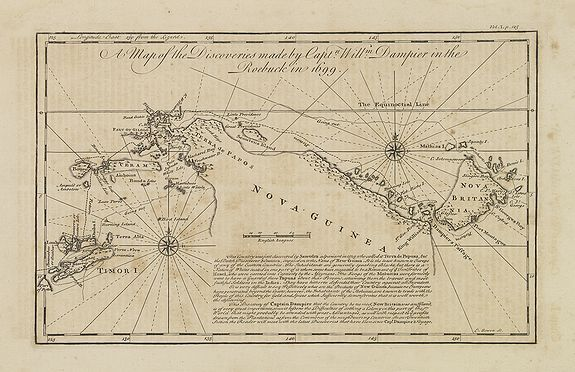 BOWEN, E.,  A map of the discoveries made by Captn. Willm. Dampier in the Roebuck in 1699., antique map, old maps