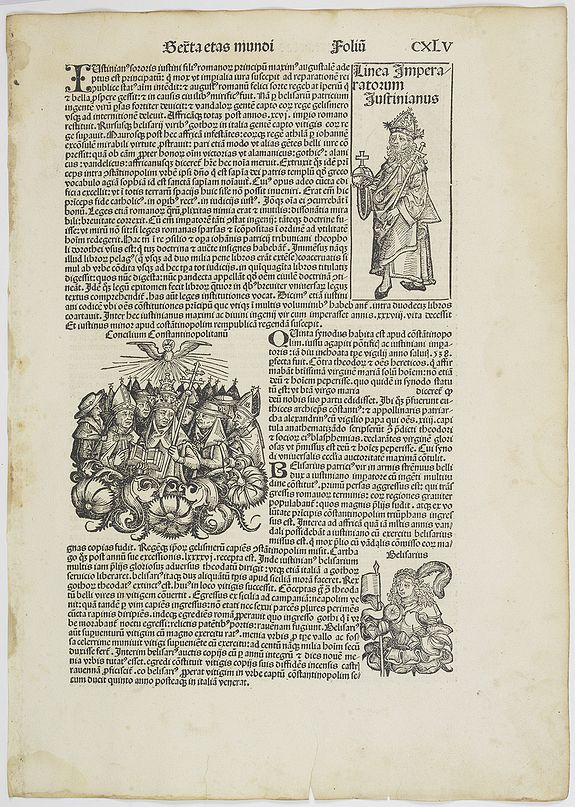 SCHEDEL, H. -  [Text page of the Papal council, and portraits of different saints and kings . . . CXLV].