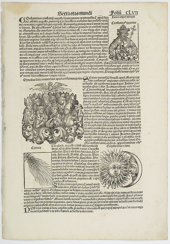 SCHEDEL, H. - [Text page with illustrations of the sun and moon, Kings, and Popes.  - Sexta etas mundi foliu CLVII ].