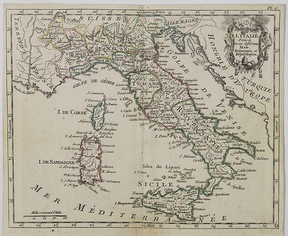 DE LAPORTE, L'Abbé. -  Carte d' Italie  . . .
