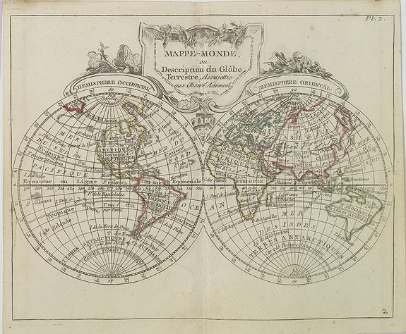DE LAPORTE, L'Abbé. -  Mappe-Monde ou Description du Glôbe Terrestre  Assujettie aux Observs Astronoms.