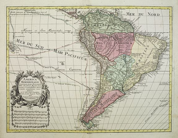 LOTTER, T.C.,  America Meridionalis., antique map, old maps