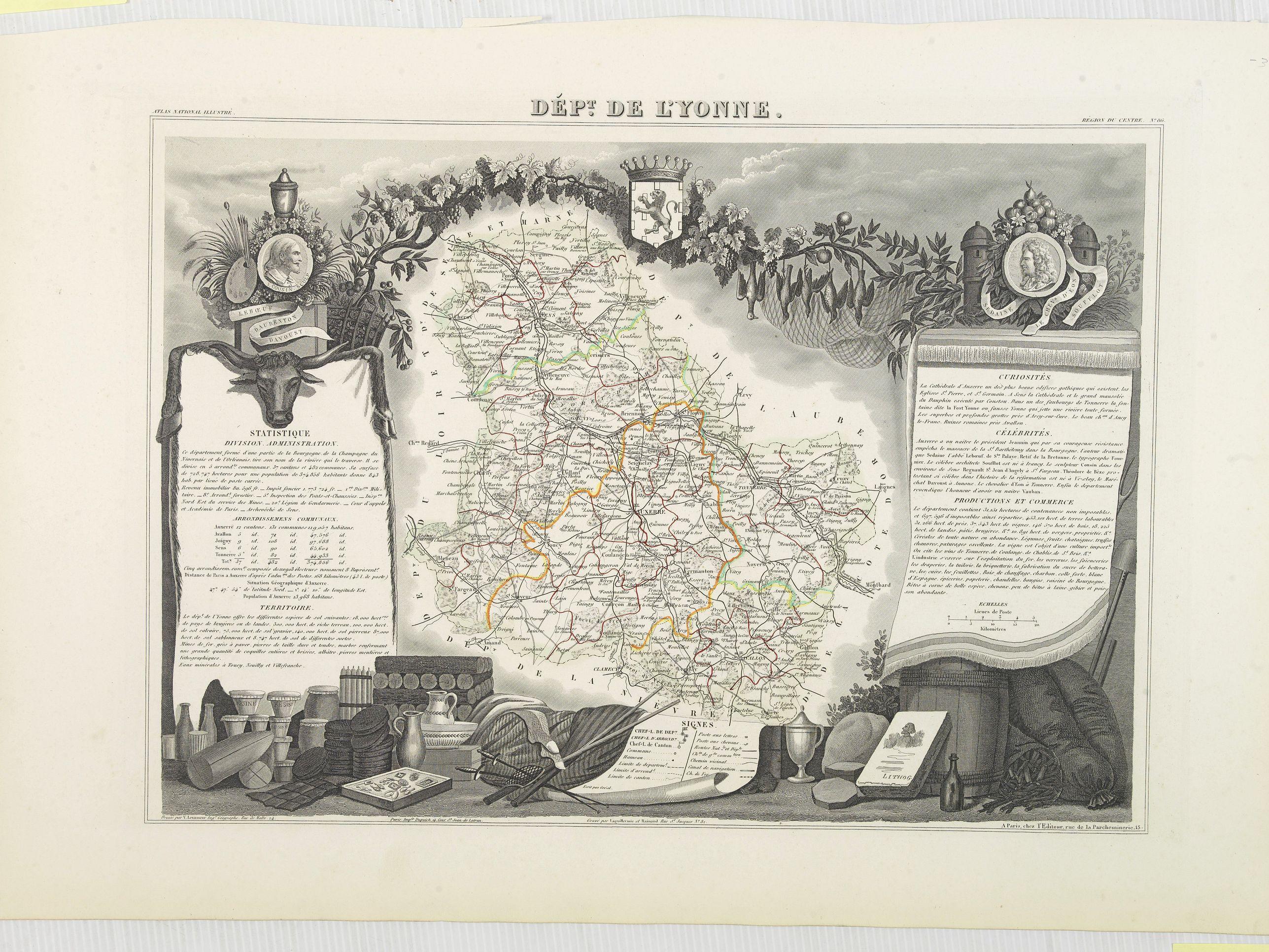 LEVASSEUR, V. -  Dépt. De Lyonne. N°86. [ Auxerre ]