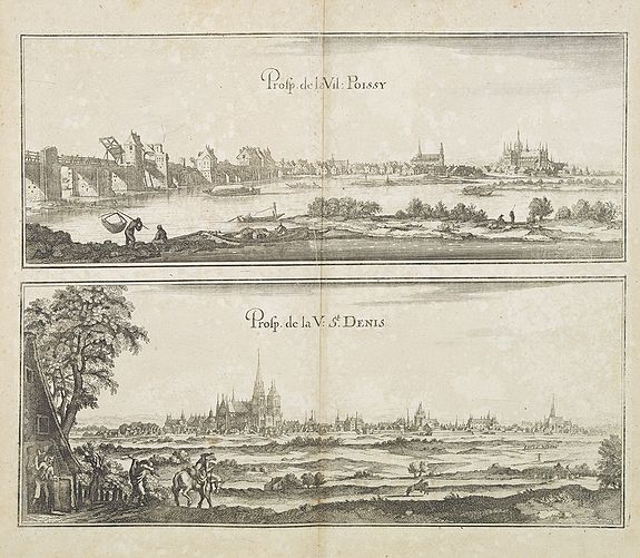 MERIAN, C. -  Prosp. De la Vil: Poissy. Prosp. De la Vil: St. Denis.