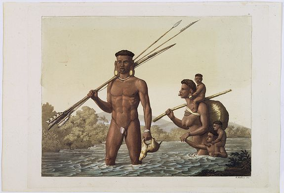 FERRARIO, G. -  [ Hunting scene of Botocudos family, Rio Grande, Brazil ].