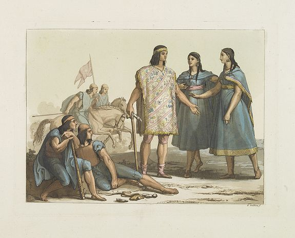 FERRARIO, G. -  [Araucani chief and his entourage from Chile ].