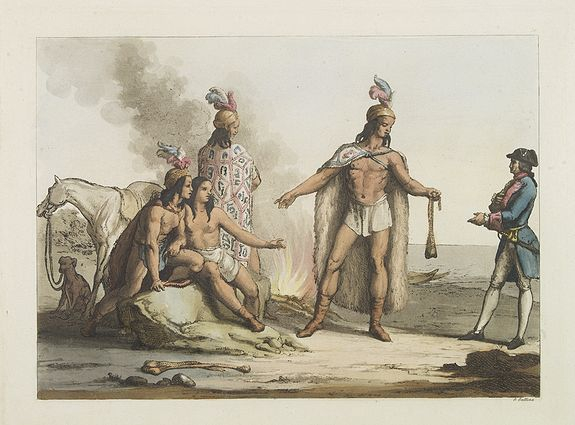 FERRARIO, G.,  [ Indians of Patagonia, Chile, greeting a European traveller, probably Louis Antoine de Bougainville.  ], antique map, old maps