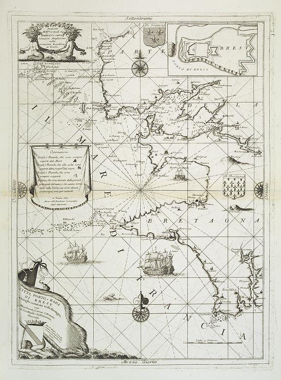 CORONELLI, V.M. -  Citta, porto, e rada di Brest, e . . . Nella Bretagna . . .