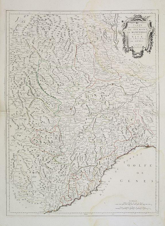 SANTINI, P. / REMONDINI, M. -  Carte qui contient la Principauté de Piémont, le Monferrat, et la Comté de Nice, avec la Rivière de Ponent de Gènes.
