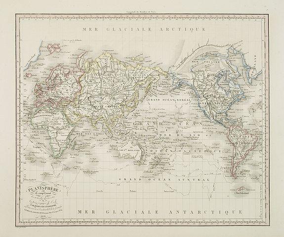 HERISSON - Planisphère comprenant les nouvelles découvertes et les trois voyages de Cook . . .
