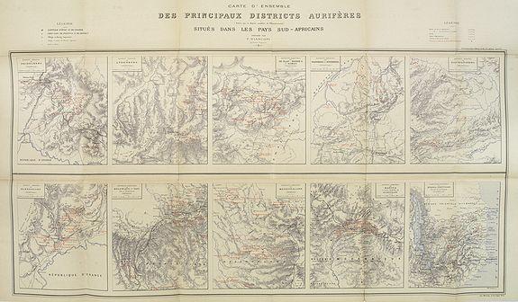 BIANCONI, F. - Carte d'Ensemble des Principaux Districts Aurifères (autre que le district aurifère de Witwatersrand) situés dans les pays  Sud africains.