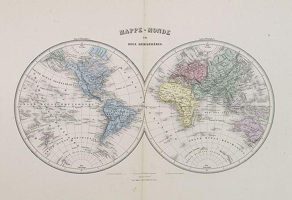 MIGEON, J. -  Mappe-Monde en deux hémisphères.